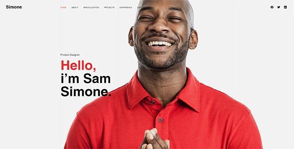 Simone - Onepage Personal CV/Resume HTML Template - Virtual Business Card Personal