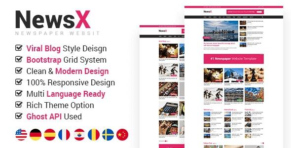 NewsX - Responsive News, Magazine, Viral Blog Ghost Theme - Ghost Themes Blogging