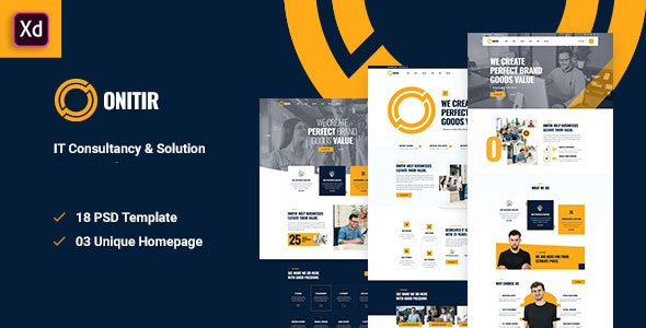 Onitir - IT Solutions Adobe XD Template - Business Corporate