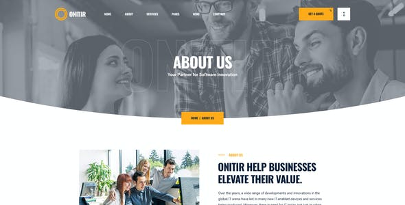 Onitir - IT Solutions Adobe XD Template