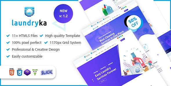 Laundryka - Dry Cleaning Services HTML5 Template