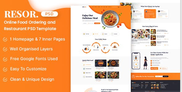 Resor - Restaurant Service PSD Theme