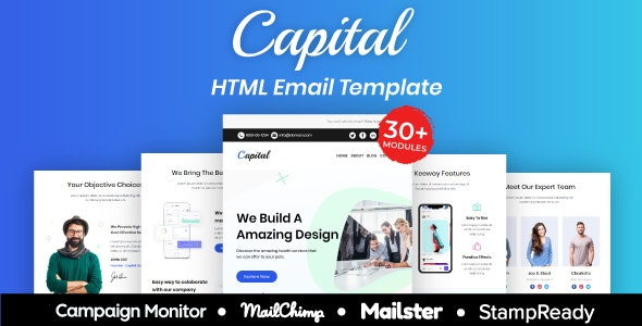 Capital - Multipurpose Responsive Email Template 30+ Modules Mailchimp - Newsletters Email Templates