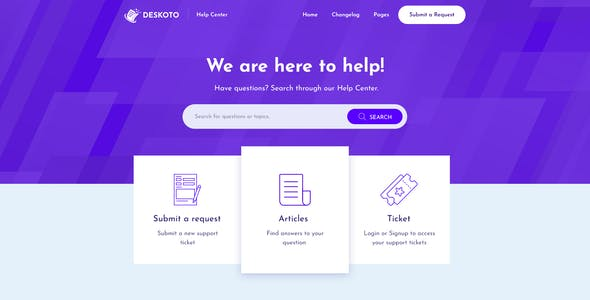 Deskoto - HelpDesk and Knowledge Base HTML Template