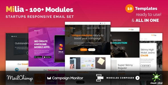 Milia - Multipurpose Email Set with 100+ Modules + MailChimp Editor + StampReady + Online Builder - Newsletters Email Templates