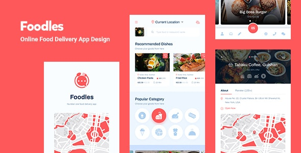 Foodles - Food Delivery Mobile App Design - Business Corporate
