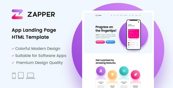 Zapper – App Landing Page HTML Template - Software Technology