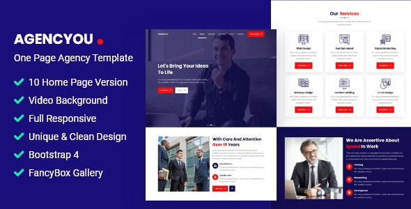 AgencYou - One Page Agency Template - Business Corporate