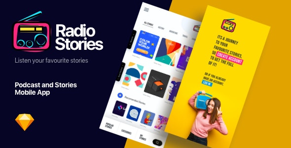 RadioStory   A Podcast Mobile App Sketch Template - Events Entertainment