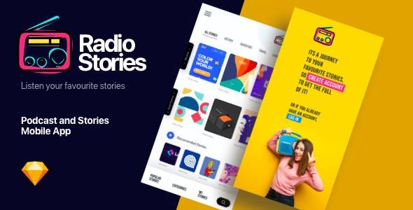 RadioStory   A Podcast Mobile App Sketch Template