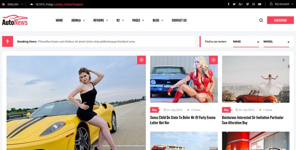 AutoNews - Cars News, Cars Review Joomla Template