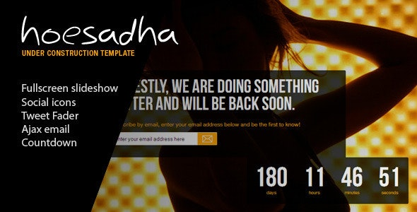 Hoesadha - Fullscreen Under Construction Template - Under Construction Specialty Pages