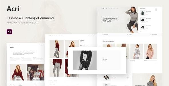Acri - Fashion & Clothing eCommerce Adobe XD Template - Adobe XD UI Templates