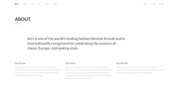 Acri - Fashion & Clothing eCommerce Adobe XD Template