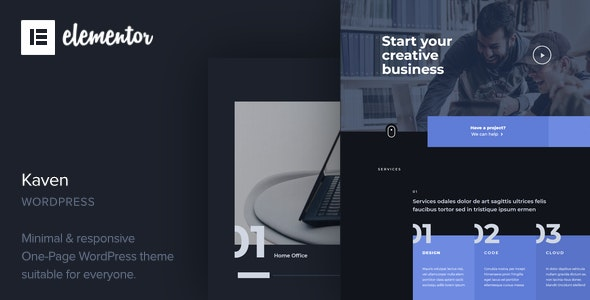 Kaven - Business One Page WordPress Theme - Business Corporate