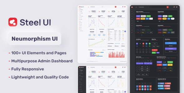 Neumorphic Bootstrap Dashboard - Steel UI - Admin Templates Site Templates