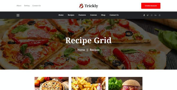 Trickly | Food Recipe PSD Template