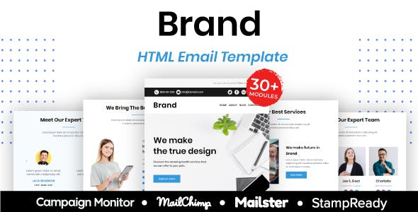 Brand - Multipurpose Responsive Email Template 30+ Modules Mailchimp
