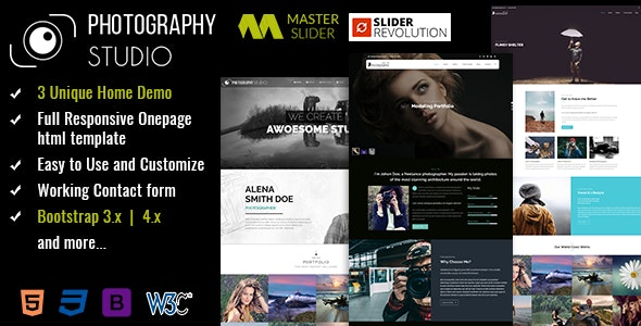 Responsive One Page Photography Template - Personal Site Templates