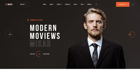 Miker - Multipurpose Film Studio Movie Production PSD Template