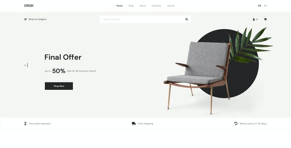 Orebi - Minimal eCommerce Adobe XD Template