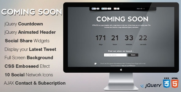 MinimalistPro Coming Soon Page with Countdown - Under Construction Specialty Pages