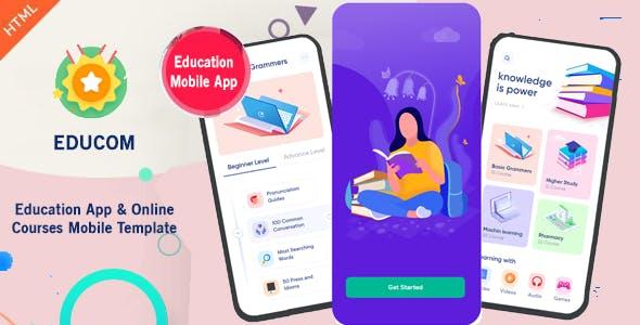Download Educom - Education App & Online Courses Mobile Template