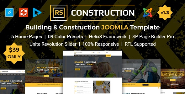 RSConstruction - Building and Construction Joomla Template - Business Corporate