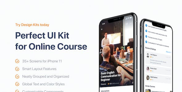 Edulake - Online Course UI Kit for Sketch