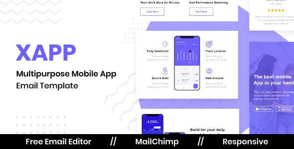 XAPP - Responsive Email Template For App / SaaS With Free Email Editor - Newsletters Email Templates