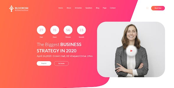 Bloorom event booking PSD template