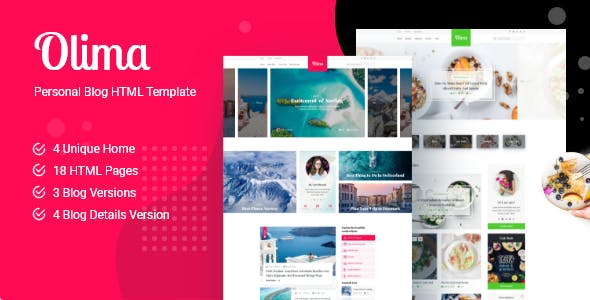 Download Olima - Personal Blog HTML Template