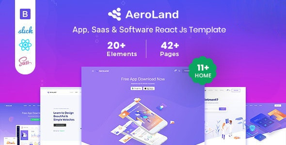 Aeroland – React JS App & Sass Landing Page Template - Software Technology