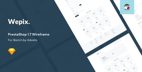 Wepix - PrestaShop 1.7 Wireframe for Sketch