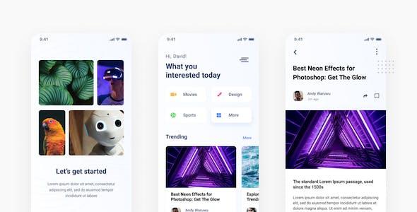 Medhia - Blog News iOS App PSD Template