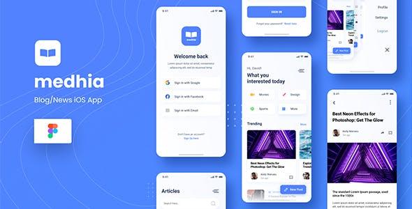 Medhia - Blog News iOS App Figma Template