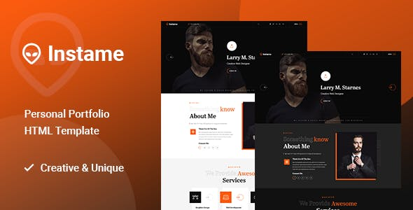 Download Instame - One Page Personal Portfolio HTML5 Template