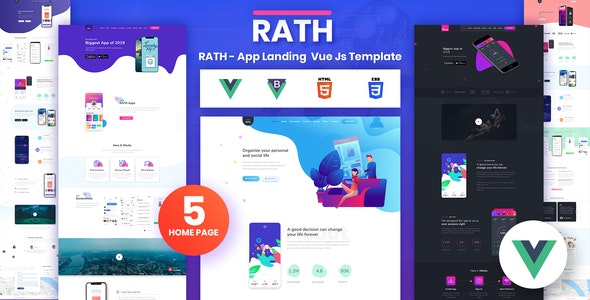 RATH - App Landing Onepage Vue Js Template - Software Technology