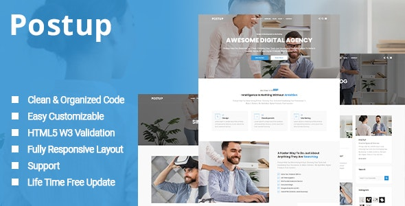 Postup - One Page Parallax Template - Business Corporate