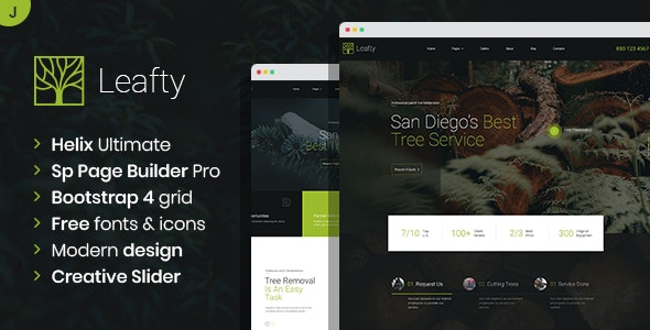 Leafty - Green Joomla Template for Tree Removal and Lumberjack Company - Business Corporate