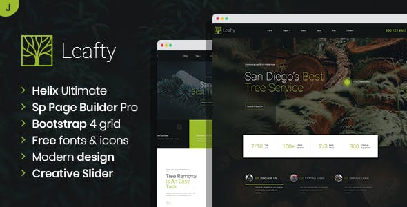 Download Leafty - Green Joomla Template for Tree Removal and Lumberjack Company