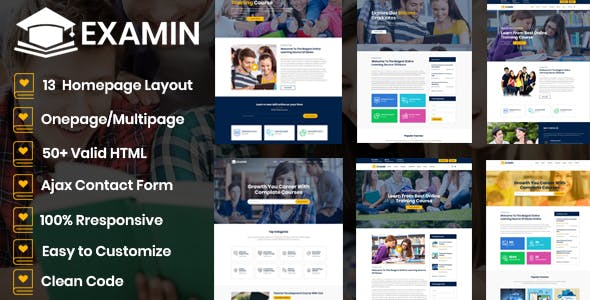 Examin - Education and LMS Template