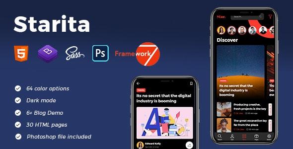 Starita - Mobile Blog App HTML Template - Mobile Site Templates