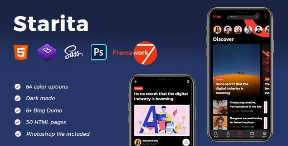Download Starita - Mobile Blog App HTML Template