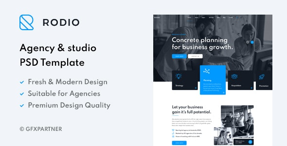 Rodio – Agency & Studio PSD Template - Business Corporate
