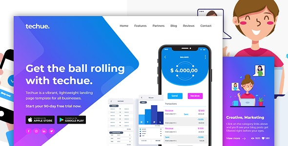 TECHUE - Multi-Purpose HTML Landing Page Template for Business and Startups - Corporate Landing Pages
