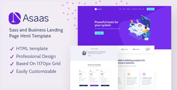 Asaas - Saas Landing Page HTML Template - Business Corporate