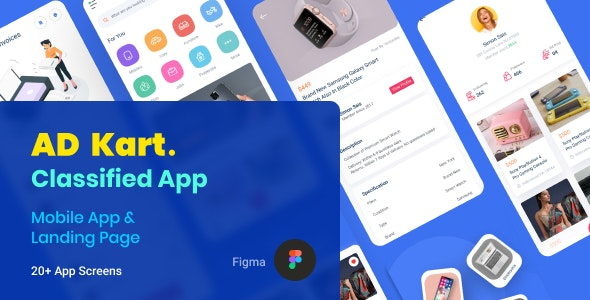 AdKart | Classified Ad Mobile App and Landing Page Figma Template - Business Corporate