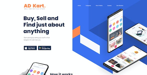 AdKart | Classified Ad Mobile App and Landing Page Figma Template