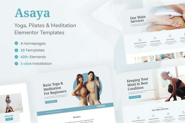 Asaya - Yoga & Meditation Elementor Kit - Sport & Fitness Elementor